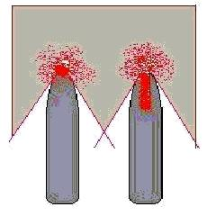Kugel mit und ohne Hohlspitze im Ziel ( Druck rot)